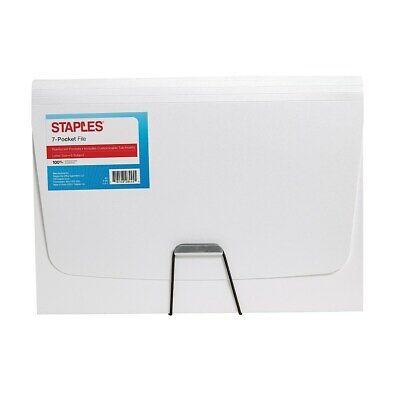 Staples Plastic 7 Pocket Reinforced Expanding Folder Letter Size White 2806364