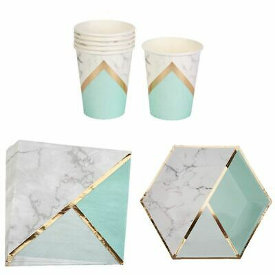 Marble and Mint Party Set Paper Plates Cups and Napkins for 8 - Cups And Plates For Party