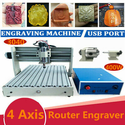 4axis 1.5kw Usb 3040 Vfd Cnc Router Engraver Metal Engraving Drill Mill Machine