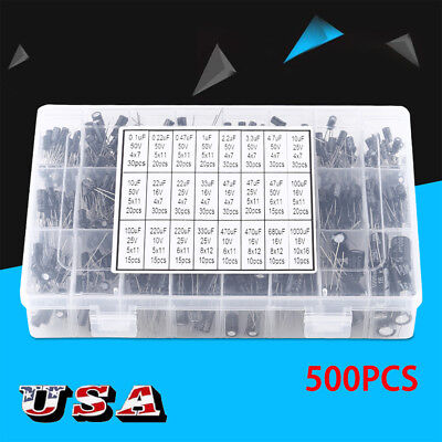 500pcs 16v-50v 0.1uf1000uf 105c Radial Lead Electrolytic Capacitor Kit Set Us