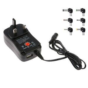 UK Power 30W AC/DC Wall Plug USB Charger Adapter Supply 3v 4.5v 6v 7.5v 9v 12v