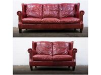 STUNNING PAIR OF ANTIQUE STYLE CHESTERFIELD SOFAS IN GENUINE BURGUNDY LEATHER