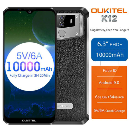 "Android Phone - Oukitel K12 6.3"" FHD+ 4G Smartphone Android 9.0 6GB+64GB 2*SIM 10000mAh Unlocked"