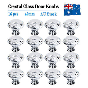 16X 40MM Clear Crystal Glass Door Knobs Furniture Drawer Cabinet Kitchen Handles