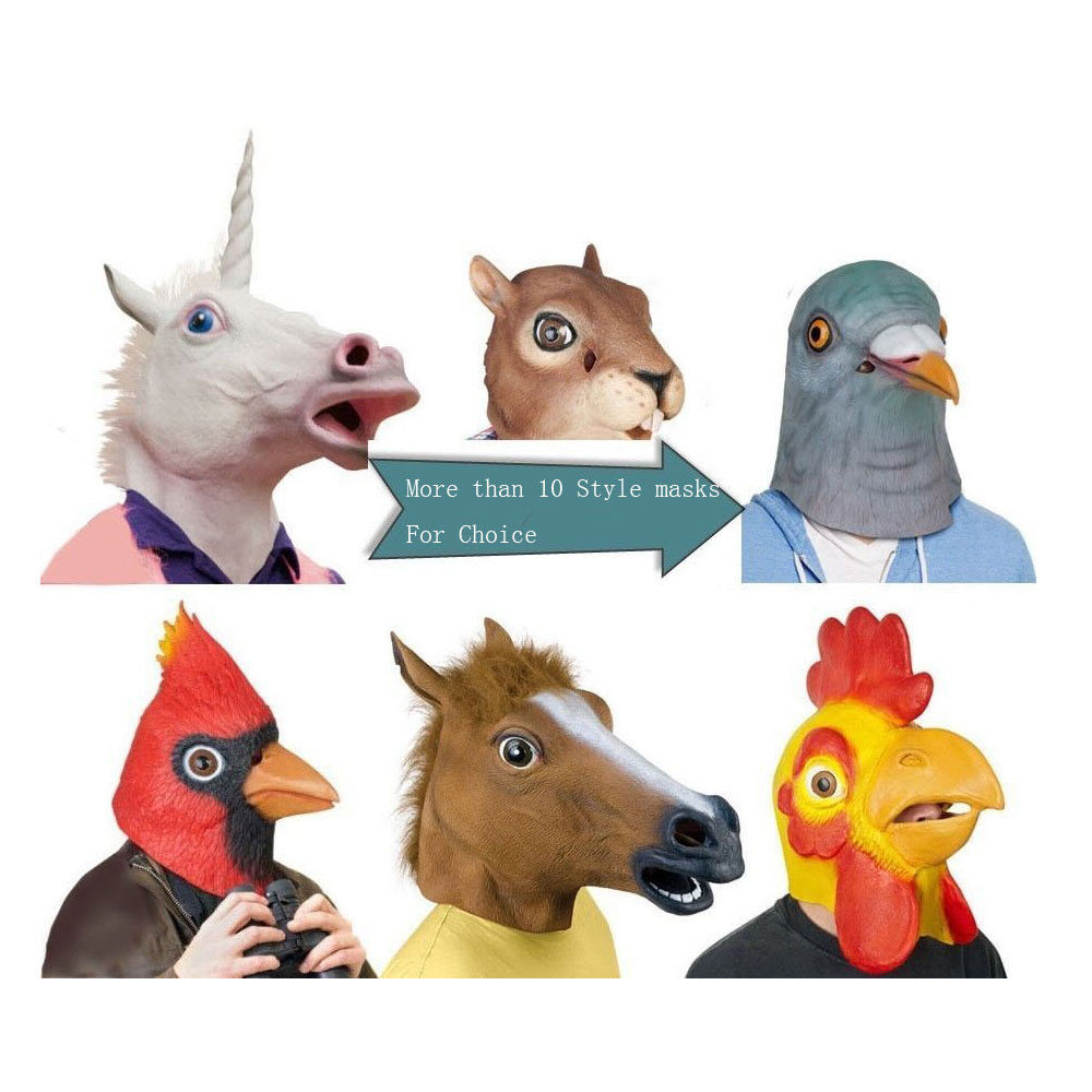 Horse Mask - Cosplay Halloween Horse Head Mask Latex Animal Zoo ...