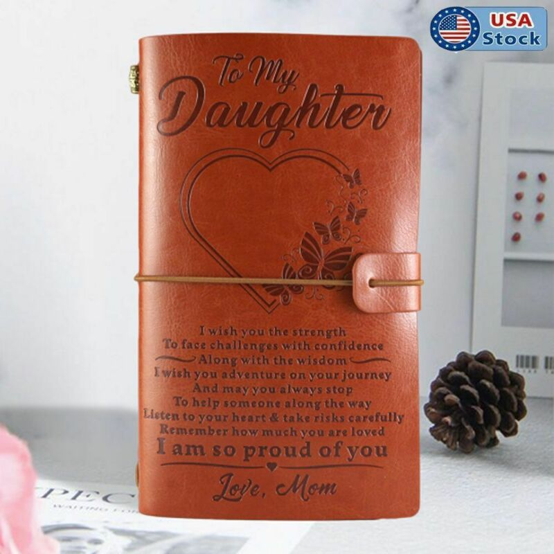 To My Daughter From Mom Engraved Leather Journal Notebook Diary Xmas Best Gifts