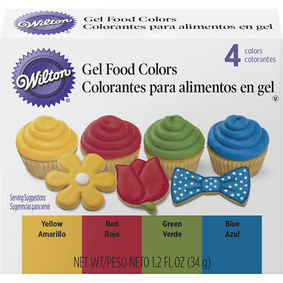 Wilton Primary Gel Food Colors Set 0.3 fl oz Bottles -Blue, Green, Red, Yellow - Wilton Food Coloring
