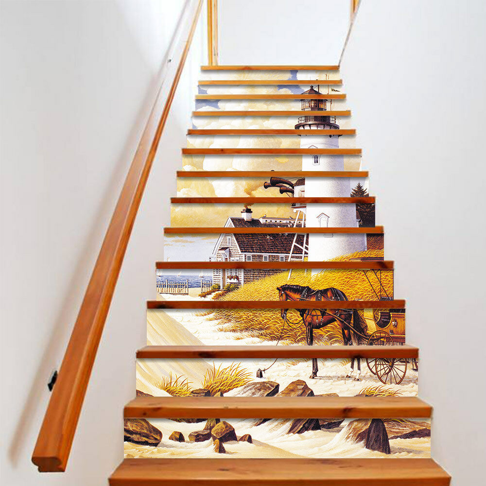 Details about 13pcs lighthouse stair riser staircase sticker photo mural vinyl decal wallpaper