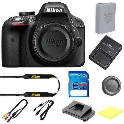 Nikon D3300 Digital SLR Camera Body 24.2 MP Black BRAND NEW W/ I3ePro SD Card