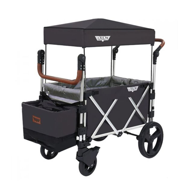 Keenz 7S Push Pull Baby Toddler Kids Stroller Wagon with Canopy, Black(Open Box)