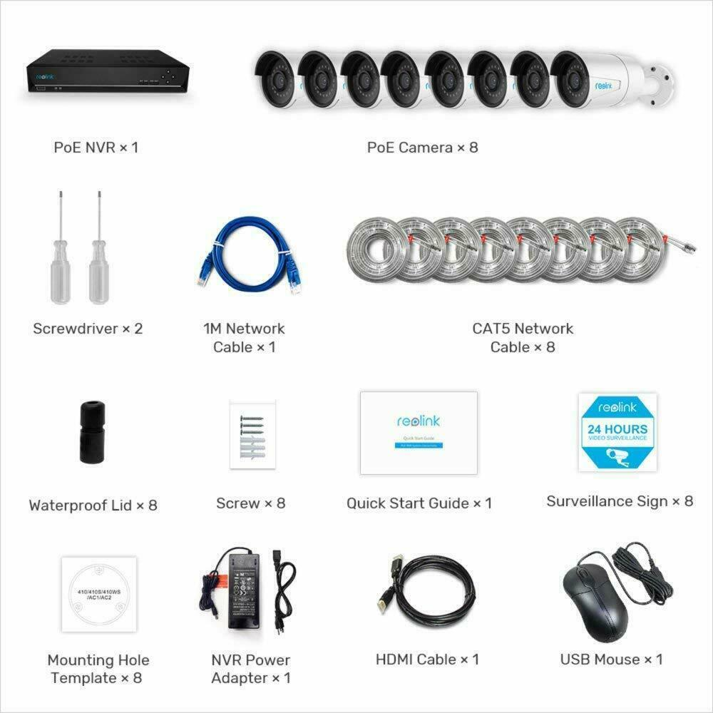 Reolink 16CH 8pcs PoE Wire Outdoor IP Home Security Camera