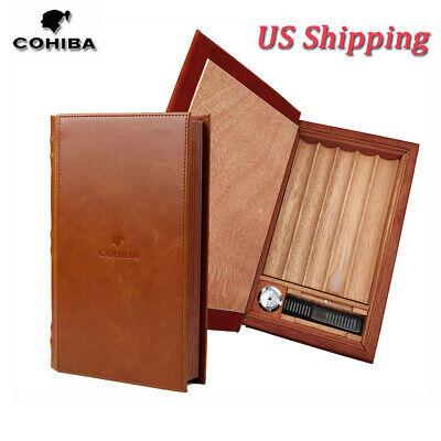COHIBA Travel Leather Cedar Cigar Humidor Box Case 5 Cigar Humidifier Hygrometer Leather Cigar Box