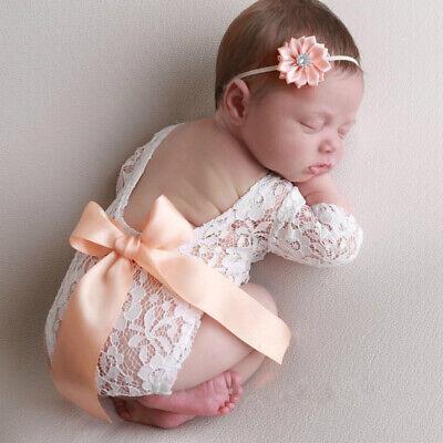 Neugeborene Mädchen Süße Baby Set Boho Haarband Body Spitze Kostüm Fotoshooting