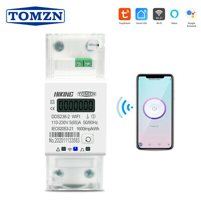 Tuya Single Phase Din Rail Wifi Smart Energy Meter Timer Power 110v 220v 5060hz