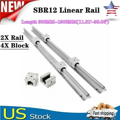 2x Sbr12 Linear Rail Guide Shaft Rod L3001500mm 4x Sbr12uu Bearing Blocks Cnc