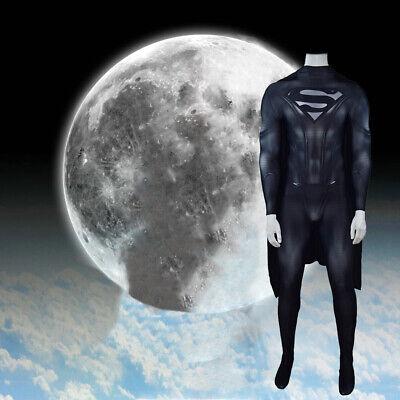 Superman Black Suit For Halloween (Black Superman Jumpsuit Superhero Cosplay Costume For Adult & Kids Halloween)