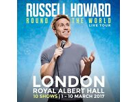 2 stalls tickets to the opening night of Russell Howard at the Royal Albert Hall.