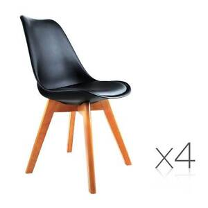 Set of 4 Dining Chair PU Black Melbourne CBD Melbourne City Preview