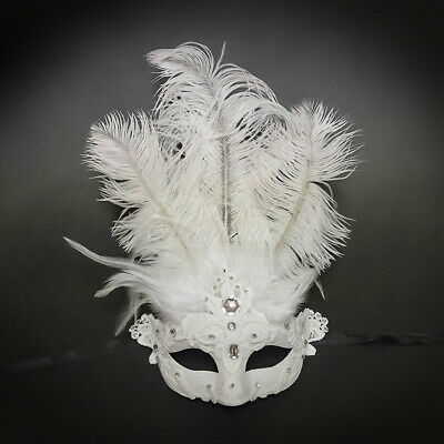 All White Mask (All White Laced Women's Costume Masquerade Venetian Mask with)