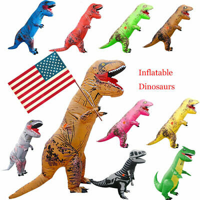 Adults Inflatable Dinosaur T-REX Costume Child Jurassic Halloween Blowup