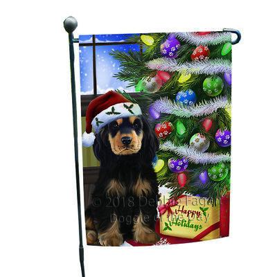 Christmas Holidays Cocker Spaniel Dog Tree Presents Garden Flag GFLG53516