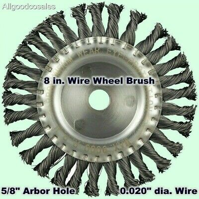 8 Wire Wheel Brush Twisted Carbon Steel 58 Arbor Hole 0.020 Dia. Wire