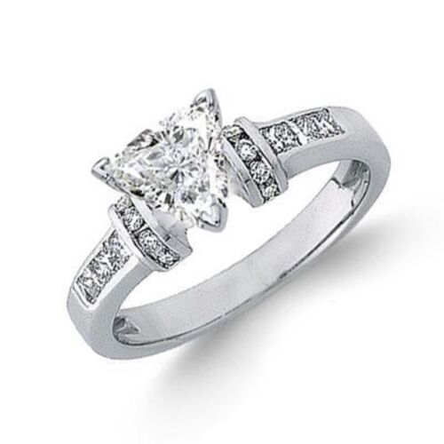 Diamond Engagement Ring Trillion Cut GIA Certified 2.00 Carat 18k White Gold
