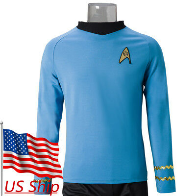 Original Cosplay Costumes (Cosplay Star Trek Spock Blue Shirt TOS The Original Series Blue Uniform)