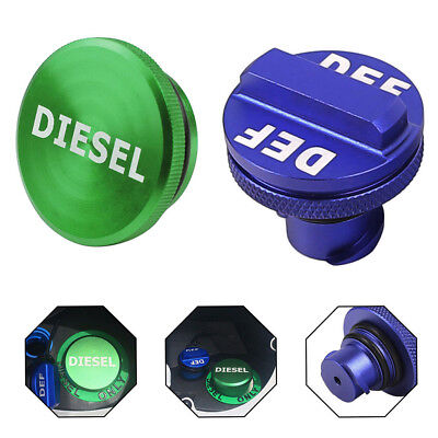 Billet Aluminum Green Fuel Cap Magnetic & Blue DEF Cap for Dodge Ram Cummins US
