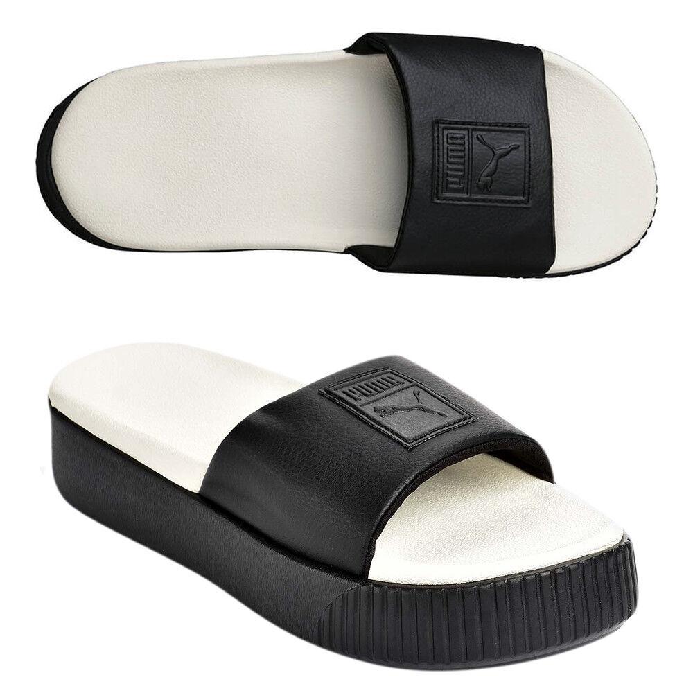 0b382fbfaf76 Details about Puma Platform Slide Slip On Womens Black White Flip Flops  366121 04 D27