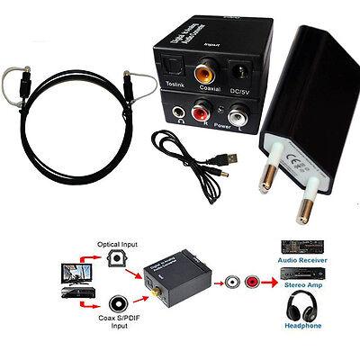 Coassiale Ottico Digitale Segnal a Analogico RCA L/R Convertitore Audio 3,5mm