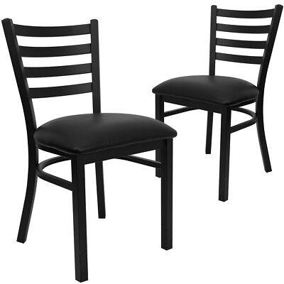 2 Pk. Hercules Series Black Ladder Back Metal Restaurant Chair - Black Vinyl...