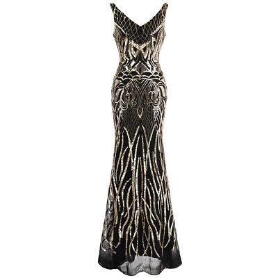 Angel-fashions Women's V Neck Pattern Sequin Flapper Mermaid Evening Dress 412 ()