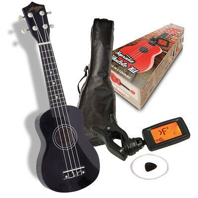 Black Johnny Brook Soprano Ukulele Kit with Bag Tuner Picks and Spare Strings