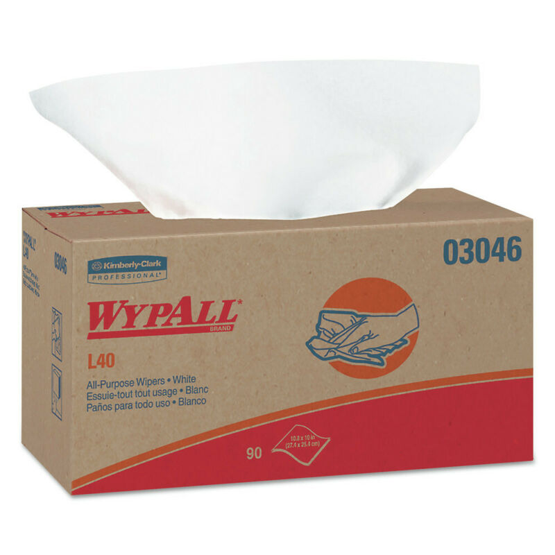 Kimberly-Clark L40 Wipers, Pop-Up Box, White, 10 4/5 X 10, 90/box, 9 Boxes/carto