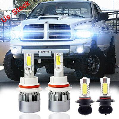 For 2003-2005 Dodge Ram 1500 2500 3500 4X 6000K LED Headlight + Fog Light Bulbs
