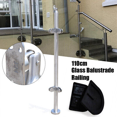 316 Stainless Steel Railing Round Post, Glass Clamps 90° Cornor Railing Post