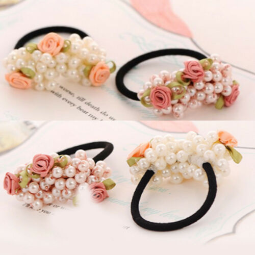 Elegant Flower Pearls Women Hairband Ponytail Holder Elastic Hair Tie Band Rope