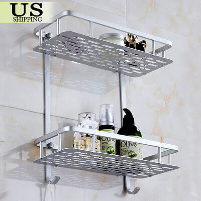 شماعة حمام جديد Aluminum Wall Mounted Dual 2 Tier Bathroom Shower Bath Shelf Rack Holder Caddy