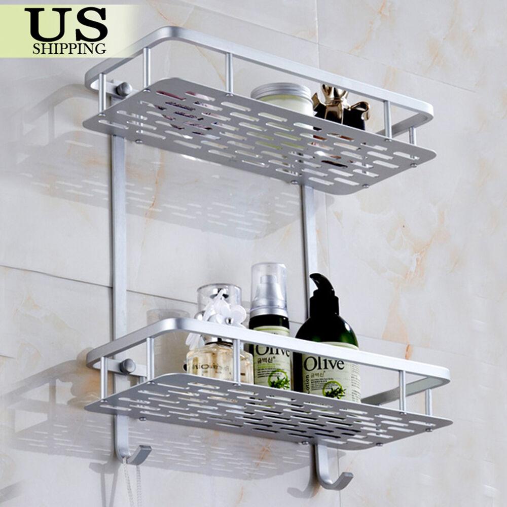 2 Tier Bathroom Shower Bath Shelf Rack