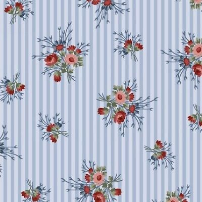 Henry Glassware 8849 Flowers Of Provence Blue Striped Calico Quilting Fabric By Yd