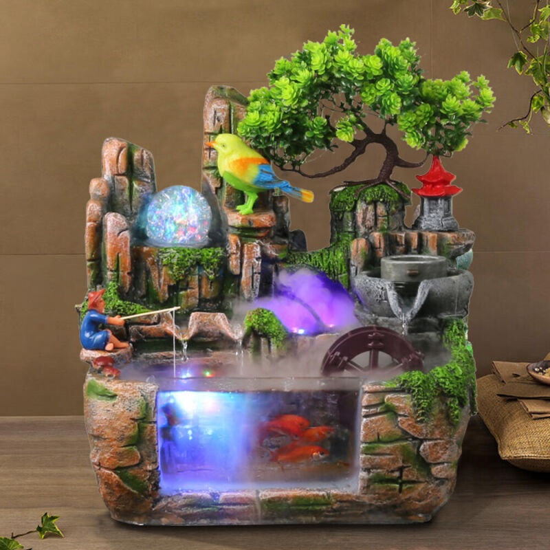 NEW Desktop Fountain Waterfall with LED Lamp Tranquil Zen Relax Rockery Ornament