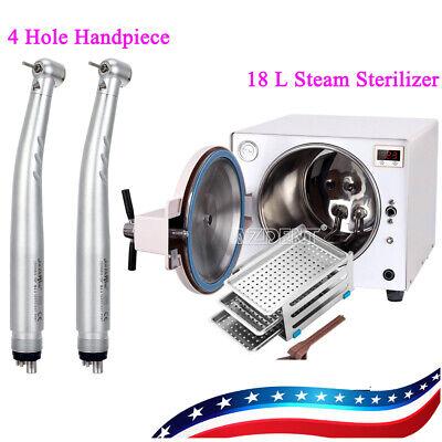 18 L Dental Medical Autoclave Steam Sterilizer 2pcs 4hole Handpiece Ups
