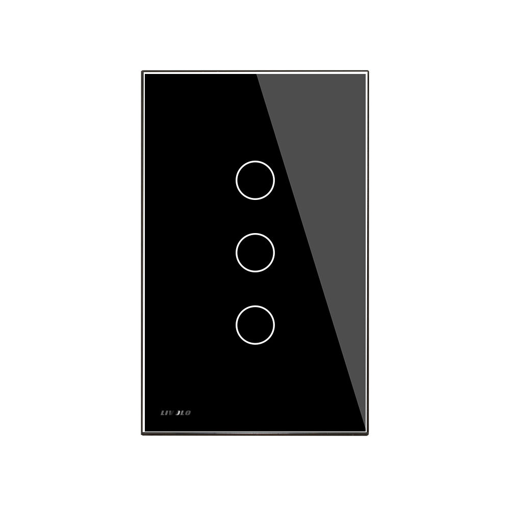 LIVOLO Touch Switch 3 Gang 2Way LED Light Wall Switch Glass
