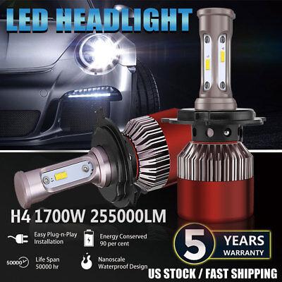 H4 9003 LED Headlight Conversion Kit Bulbs 1700W 255000LM Lamps Hi/Lo Beam 6000K