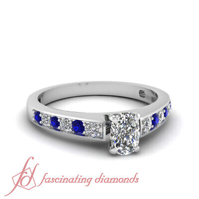.75 Ct Cushion Cut VVS2 Diamond & Round Blue Sapphire Engagement Ring 14K GIA