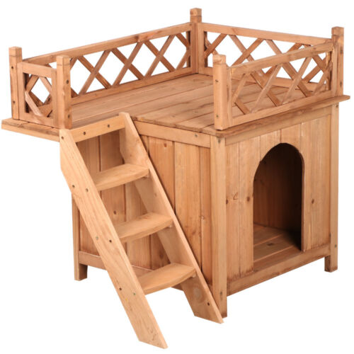 Cedar Wood Dog House Shelter With Raised Roof Balcony And