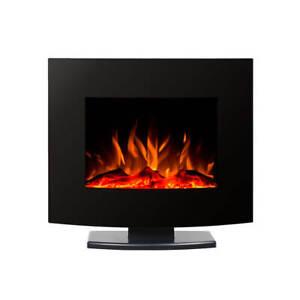 Aeati 1500W Wall Mounted Electric Fireplace w/ Stand - Black