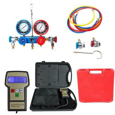 R134a Hvac Manifold Gauge Air Condition Ac And Digital Refrigerant Scale Kit Us