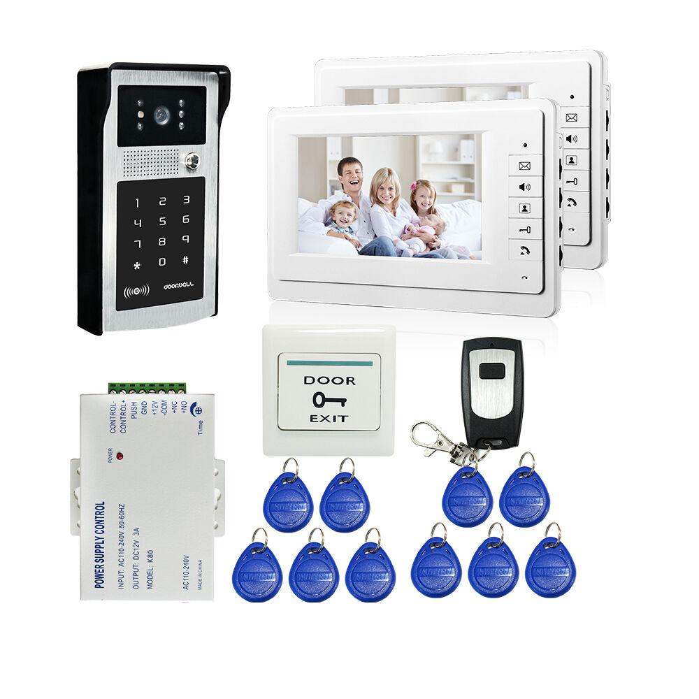 "7"" TFT Screen Video Door Bell Phone Intercom RFID Code Keypad Camera  2 monitors"